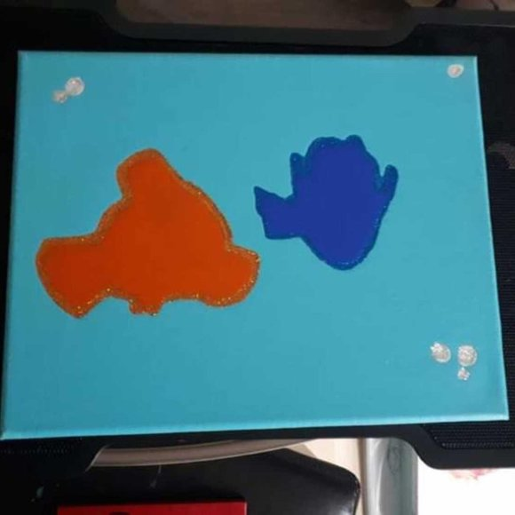 """Hand-Painted 8"""" x 10"""" Finding Nemo/Dory on Canvas"""